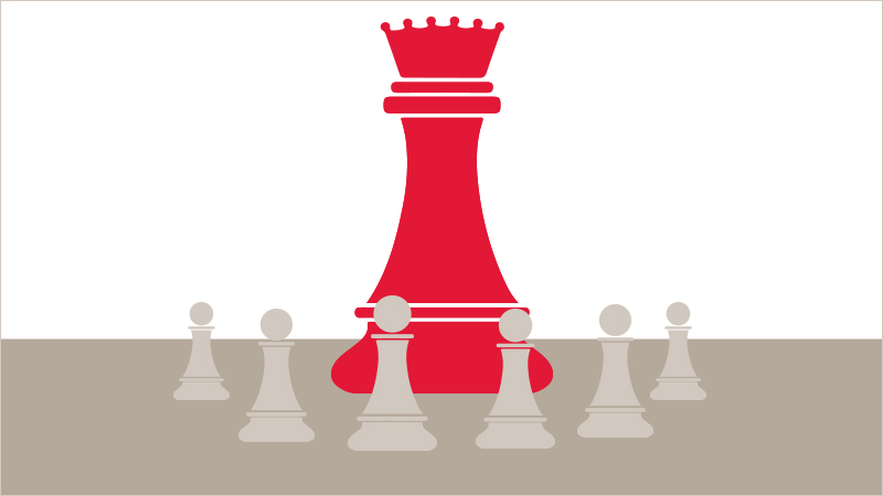 A queen chess piece surrounded by smaller pawns who represent children learning from her