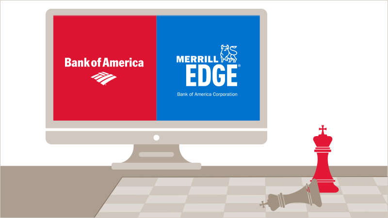 A chessboard showing checkmate with a computer screen with the Bank of America and Merrill Edge logos