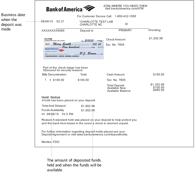 Image of an ATM deposit receipt showing the deposit date, amount of deposited funds held, date and time held funds will be available and hold codes.