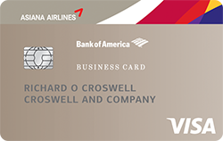 Asiana visa business credit card from bank of america earn 10000 bonus miles after your first purchase with an asiana visa business card reheart Gallery