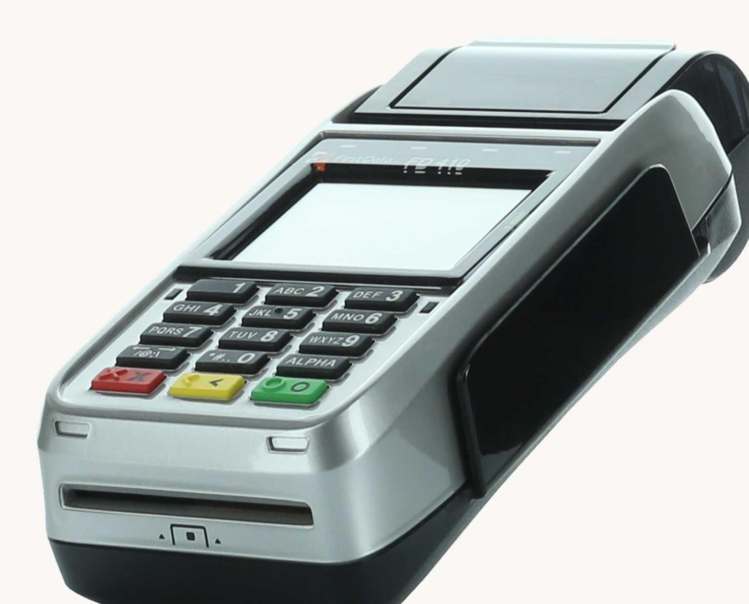 First Data FD410 Wireless EMV Credit Card Terminal