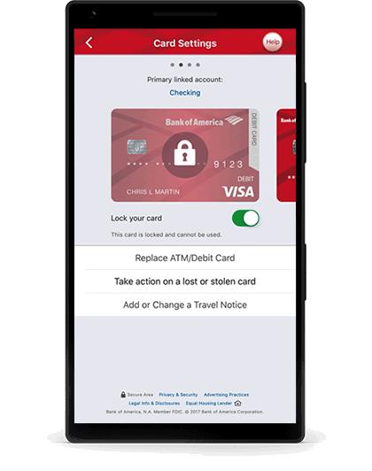 bloquear/desbloquear tarjeta de débito de bank of america